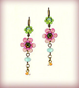 Gift Jewelry - Orly Zeelon Jewelry - The floral earrings with beaded tassels by Orly Zeelon