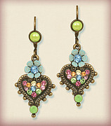 Multicolor Jewelry - Orly Zeelon Jewelry - The Heart Shaped Pendant Earrings by Orly Zeelon