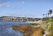 Florida Bridge Posters - Ormond Beach Bridge Poster by Deborah Benoit