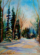 Pasture Scenes Painting Framed Prints - Ormstown Quebec Winter Road Framed Print by Carole Spandau