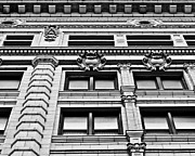 Downtown Detroit Framed Prints - Ornate Building - Black and White Framed Print by Alanna Pfeffer