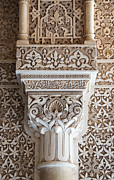 Andalucia Posters - Ornate Column Alhambra Poster by David Kleinsasser