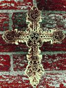 Rustic Mixed Media Framed Prints - Ornate Cross 1 Framed Print by Angelina Vick