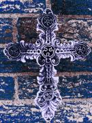 Belief Mixed Media Prints - Ornate Cross 2 Print by Angelina Vick