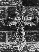 Belief Mixed Media Prints - Ornate Cross 3 BW Print by Angelina Vick