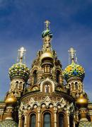 Onion Domes Photos - Ornate Exterior Of Church Of Spilled by Axiom Photographic