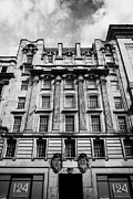 Office Space Prints - Ornate Facade Of 124 St Vincent Street Refurbished Into Modern Office Space Glasgow Scotland Uk Print by Joe Fox