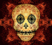 Fire Framed Prints - Ornate Floral Sugar Skull Framed Print by Tammy Wetzel