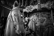 Amusements Prints - Ornate Horses On An Empty Carousel Merry-go-round In The Uk Print by Joe Fox
