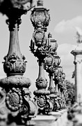 Black And White Paris Posters - Ornate Paris street lamp Poster by Ivy Ho