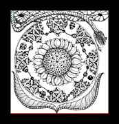 Stippling Drawings Framed Prints - Ornate Framed Print by Rosy Hall