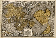 S Pole Posters - Oronce Fines World Map, 1531 Poster by Library Of Congress, Geography And Map Division