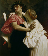 Hug Painting Metal Prints - Orpheus and Euridyce Metal Print by Frederic Leighton