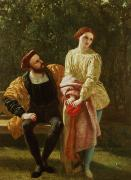Character Painting Metal Prints - Orsino and Viola Metal Print by Frederick Richard Pickersgill