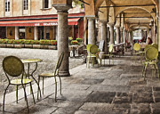 European Cafes Digital Art Prints - Orta San Julio Cafe Print by Sharon Foster