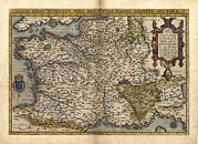 France Map Prints - Orteliuss Map Of France, 1570 Print by Library Of Congress, Geography And Map Division