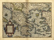 Theatrum Orbis Terrarum Framed Prints - Orteliuss Map Of Greece, 1570 Framed Print by Library Of Congress, Geography And Map Division