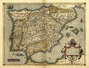 Theatrum Orbis Terrarum Framed Prints - Orteliuss Map Of Iberian Peninsula, 1570 Framed Print by Library Of Congress, Geography And Map Division