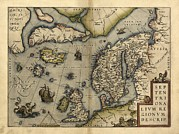 Ireland Map Framed Prints - Orteliuss Map Of Northern Europe, 1570 Framed Print by Library Of Congress, Geography And Map Division