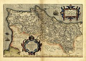 Theatrum Orbis Terrarum Framed Prints - Orteliuss Map Of Portugal, 1570 Framed Print by Library Of Congress, Geography And Map Division