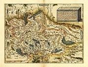 Helvetia Prints - Orteliuss Map Of Switzerland, 1570 Print by Library Of Congress, Geography And Map Division