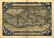 Theatrum Orbis Terrarum Framed Prints - Orteliuss World Map, 1570 Framed Print by Library Of Congress, Geography And Map Division
