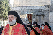 Orthodox Photo Originals - Orthodox Priests at Nativity Square in Bethlehem by Munir Alawi
