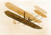 Flyer Prints - Orville Wright In Wright Flyer, 1908 Print by Science Source