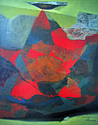 X Paintings - OS1958AR010BA Abstract Landscape of Potosi Bolivia 21.9 x 27.6 by Alfredo Da Silva