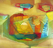 Latin American Paintings - OS1959BO003 Abstract Landscape Potosi 17.75x16.5 by Alfredo Da Silva