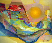 Latin American Paintings - OS1959BO005 Abstract Landscape Potosi 22.75x18.5 by Alfredo Da Silva