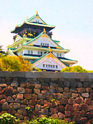 Castle On A Mountain Digital Art Posters - Osaka Castle - Painterly - 40D17138 Poster by Wingsdomain Art and Photography