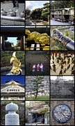 Collages Acrylic Prints - Osaka Castle by Roberto Alamino
