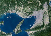 Land Reclamation Prints - Osaka, Satellite Image Print by Planetobserver