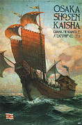 Wooden Ship Digital Art Posters - Osaka Shosen Kaisha 1916 Poster by George Pedro