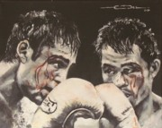 Boxing Drawings - Oscar de la Hoya vs Manny Pacquiao by Eric Dee