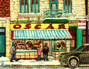 Winter Scenes Paintings - Oscar s Candy Store Montreal by Carole Spandau