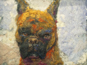 Boxer Mixed Media Posters - Oscar the Boxer Poster by Karla Kriss