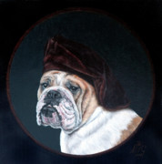 English Bulldog Paintings - Oscar with hat by Monique Geurts