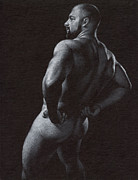 Muscle Drawings Metal Prints - Oscuro 4 Metal Print by Chris  Lopez
