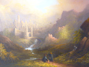 Aragorn Framed Prints - Osgiliath Frodo Sam and Gollum Framed Print by Joe Gilronan