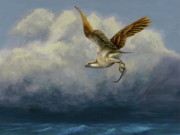 Bird Of Prey Art Paintings - Osprey with fish by Daniel Atkins
