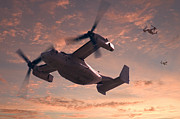 Navy Digital Art Prints - Ospreys in Flight Print by Mike McGlothlen