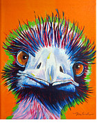 Ostrich Paintings - Ostrich What are YOU looking at by Malanda Schmitz