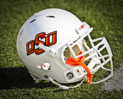 Orange Photos Posters - OSU Football Helmet Poster by Replay Photos