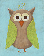 Baby Boy Framed Prints - Otis the Owl Nursery Art Framed Print by Katie Carlsruh