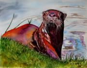 Otter Paintings - Ott by Maria Barry