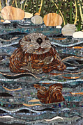 Otter Glass Art - Otter by Barbara Benson Keith