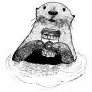 Coffee Drawings Prints - Otter Drinking Coffee Print by Karl Addison
