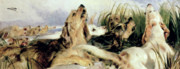 Landseer Paintings - Otter Hounds by Sir Edwin Landseer